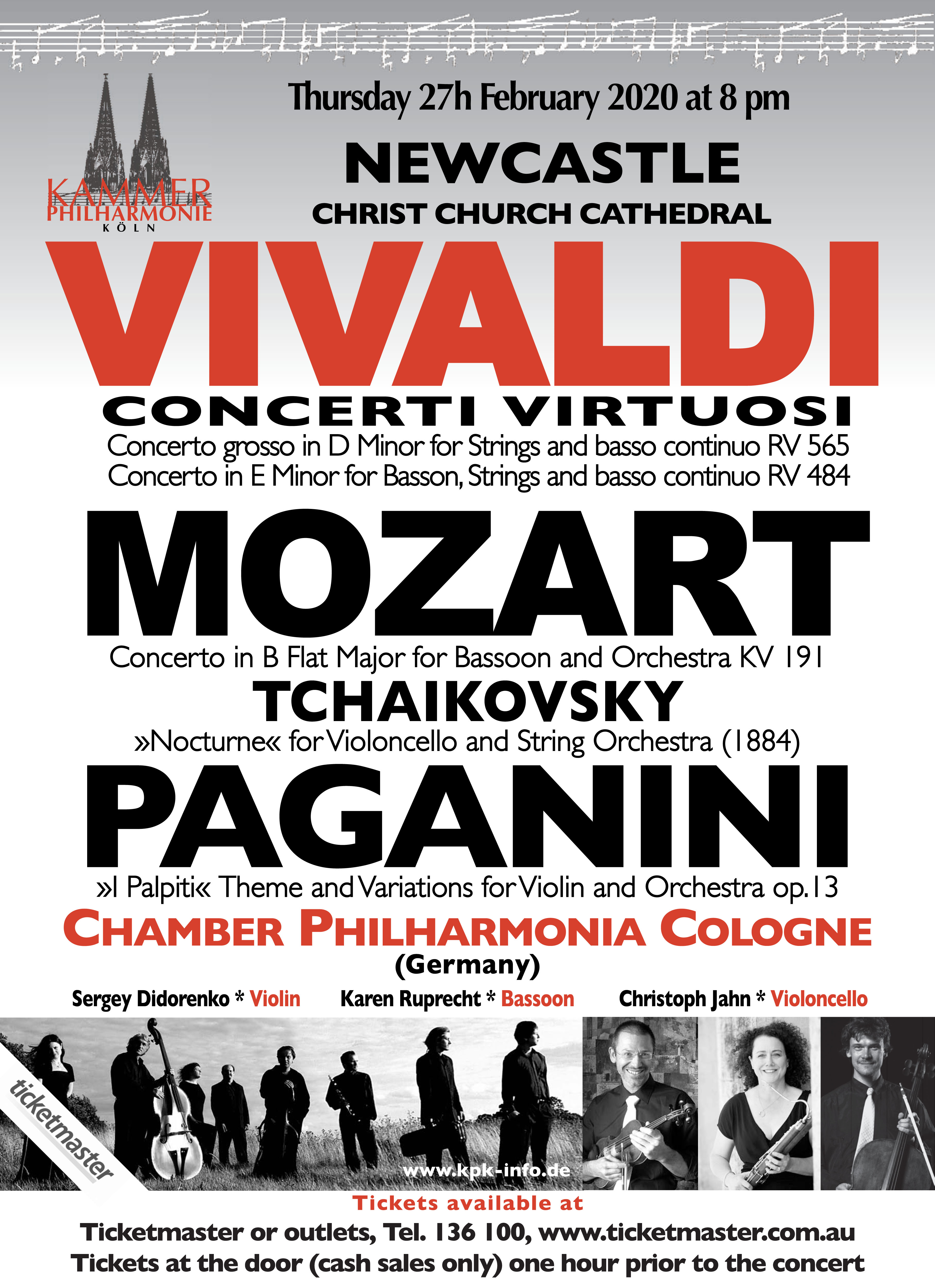 Download flier for Chamber Philharmonia Cologne Concert - 8pm 27th February 2020 Newcastle Cathedral- Tickets via Ticketmaster or at the door cash  only
